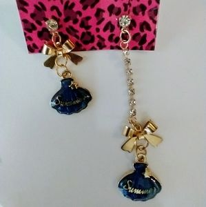 Betsey Johnson Asymmetrical Drop Earrings NWT